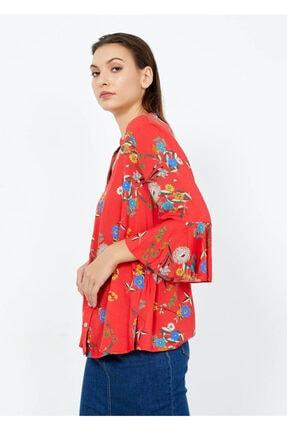 Adze Kadın Nar Çiçeği V Yaka Kol Detay Gömlek Nar Cıcegı S 2