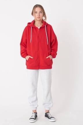 Addax Kadın Kırmızı Kapüşonlu Uzun Hırka H0725 - W6 - W7 ADX-0000020316 4