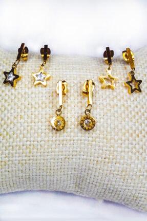 Fashion Jewellery Paslanmaz Çelik Yıldız Figürlü Zirkon Taşlı Altın Küpe Seti 1