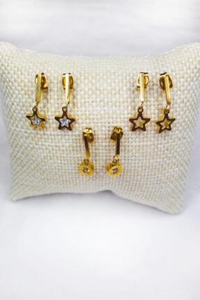 Fashion Jewellery Paslanmaz Çelik Yıldız Figürlü Zirkon Taşlı Altın Küpe Seti 2
