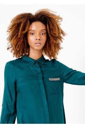 Adze Kadın Yeşil Düğmeli Cepli Tunik Yesıl 44 1
