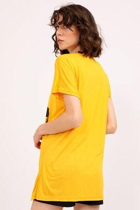 metropol tekstil Krt-061 Desenli Tshirt Hardal 4