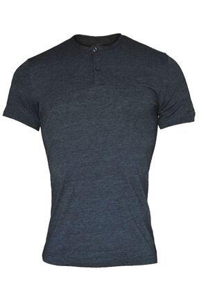 تصویر از 083 Önü Düğmeli Yaz Serinliği Erkek T-shirt Antrasit