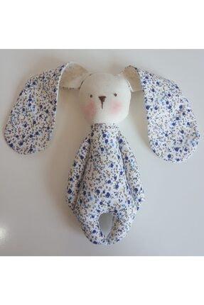 BERLİNA DOLLS Uyku Arkadaşı Mavi Çiçek Desenli Organik Tavşan-boyu:24cm 1