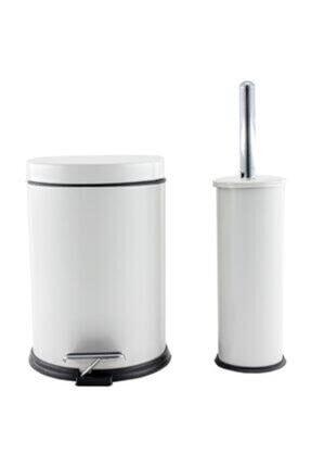 Berta Hijyen Berta 2'li Beyaz Banyo Seti Çöp Kovası Tuvalet Fırçası 1