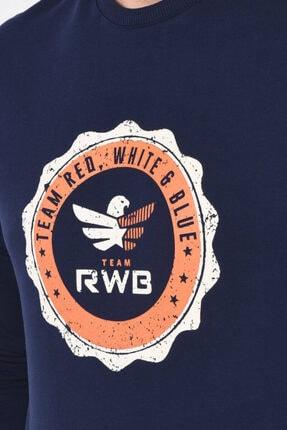 Rwb Lacivert Bisiklet Yaka Baskılı Erkek Sweatshirt 184 3
