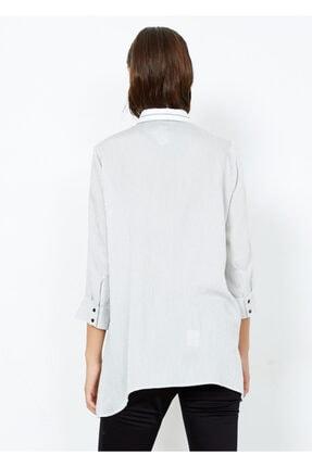 Adze Kadın Beyaz Çizgili Gömlek Tunik Beyaz Xs 3