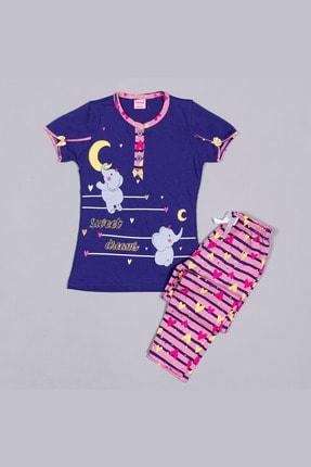 تصویر از 1326 Lacivert Penye Fil Desenli Kısa Kollu Çocuk Pijama Takımı