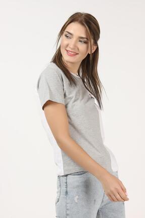 Tena Moda Kadın Gri-beyaz Parçalı Köpek Baskılı Tişört 3