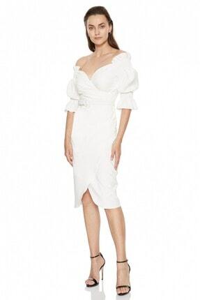 Fervente Beyaz Abiye Krep Kısa Kol Mini Nişan Elbise 0