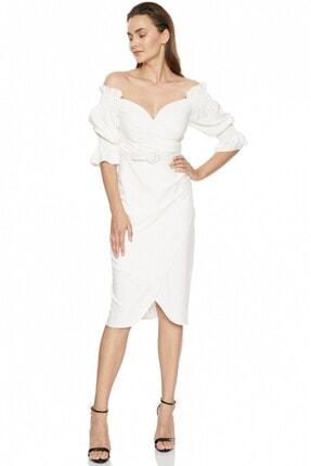 Fervente Beyaz Abiye Krep Kısa Kol Mini Nişan Elbise 3