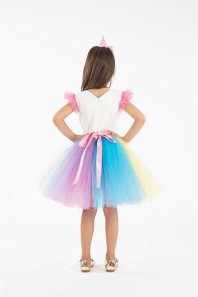Minik Dolap Kız Çocuk Pembe Taçlı Unicorn Parti Elbisesi 2