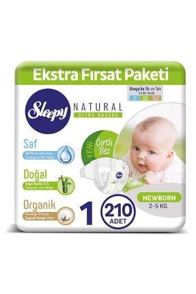 Sleepy Natural Bebek Bezi 1 Numara Yenidoğan 210 Adet 0