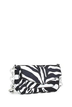 Housebags Kadın Zebra Desenli Zincir Detaylı Çapraz Askılı Çanta 196 1