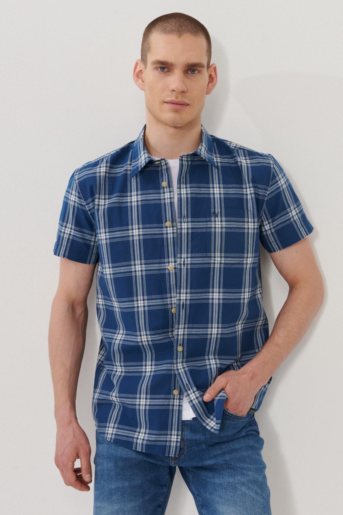 Erkek İndigo Regular Fit Kısa Kol Gömlek