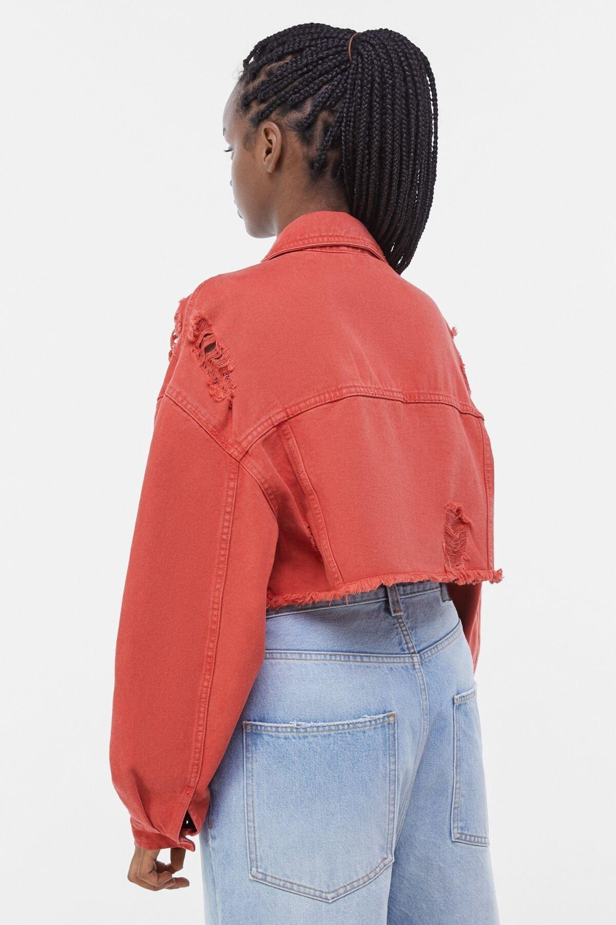 Bershka Kadın Kırmızı Acid Wash Distressed Ceket 01308019 1