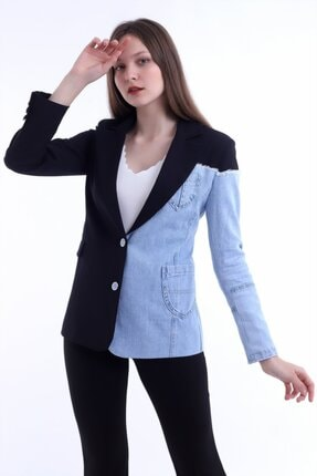 Kadın Modası Kadın Siyah Yakalı Yanı Kot Garnili Astarlı Ceket 0