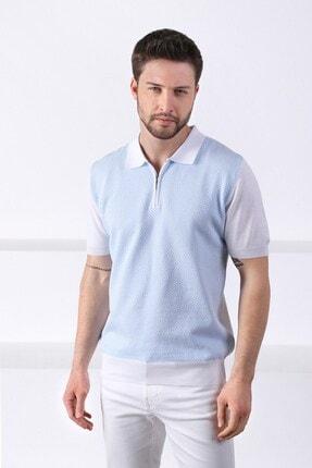 Ferraro Erkek Beyaz Açık Mavi Polo Yaka Desenli Pamuk Triko T-shirt 3