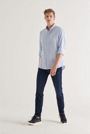 Avva Erkek Açık Mavi Düz Düğmeli Yaka Regular Fit Gömlek A11y2026 3