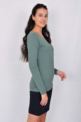 Letoile Pamuk Uzun Kollu Kadın T-shirt Yeşil 2