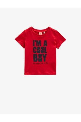 Koton Erkek Bebek Kırmızı Kısa Kollu Yazılı Baskılı Pamuklu T-Shirt 0