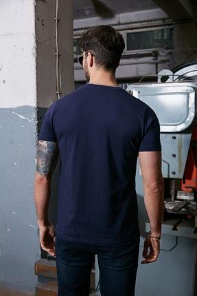 Sateen Men Erkek Lacivert Kabartma Baskılı T-Shirt 3