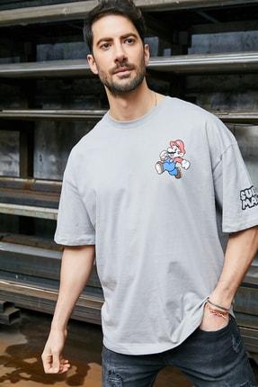 Sateen Men Erkek Gri Baskılı T-Shirt 0