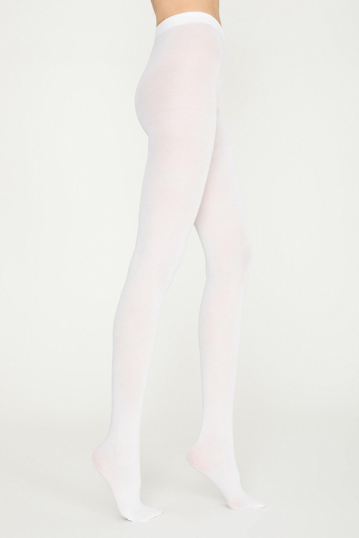 Penti Kadın Beyaz Koton Külotlu Çorap 0