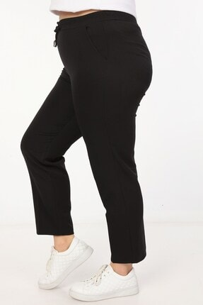 Womenice Kadin Büyük Beden Siyah Spor Kesim Kumaş Pantolon 4