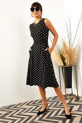 Olalook Kadın Siyah Puantiyeli Cepli  Kloş Elbise ELB-19000480 1