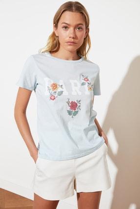 TRENDYOLMİLLA Mavi Basic Örme T-Shirt TWOSS21TS1939 2