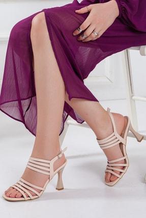 Bej Topuklu Sandalet , Kadın Klasik Topuklu Ayakkabı , Ince Topuklu Ayakkabı şık