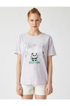 Koton Kadın Mor Bisiklet Yaka T-Shirt 2