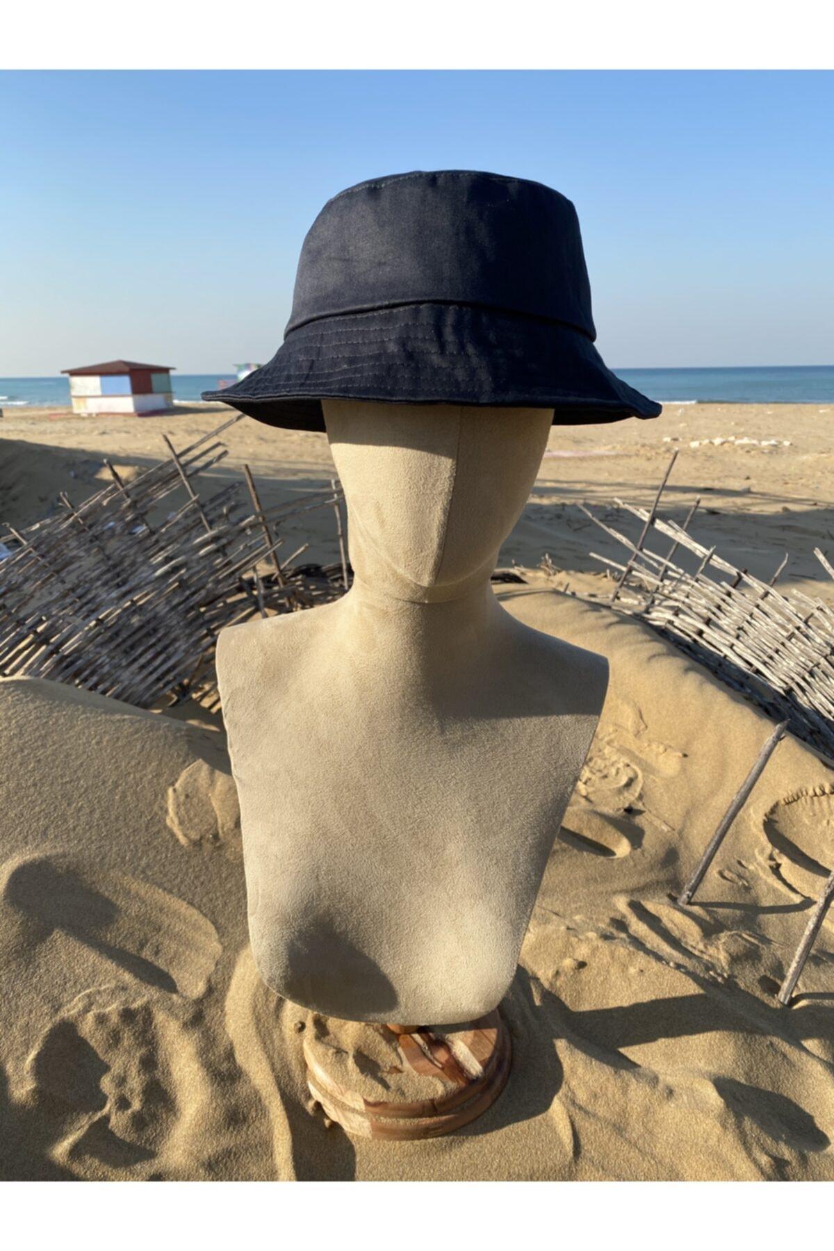 Köstebek Siyah Kova Şapka Balıkçı Şapka Bucket