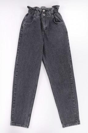 vayro Kadın Füme Kot Yüksek Bel Jean Beli Lastikli Pantolon 0