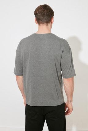 TRENDYOL MAN Antrasit Basic Erkek Bisiklet Yaka Oversize Kısa Kollu T-Shirt TMNSS21TS0811 3