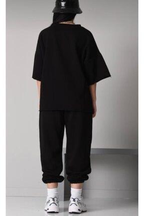 ronay giyim Oversize Kadın Siyah Eşofman Takımı 4