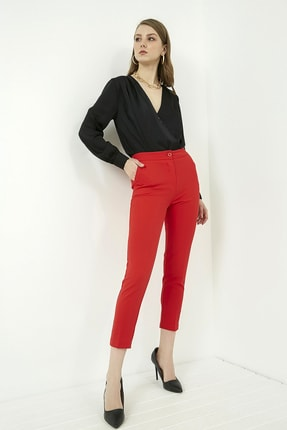 Vis a Vis Kadın Kırmızı Klasik Düz Pantolon 1