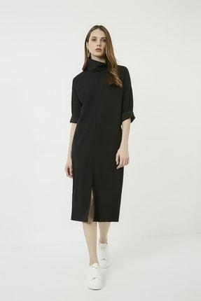 Vis a Vis Kadın Siyah Yırtmaçlı Salaş Boğazlı Elbise 3
