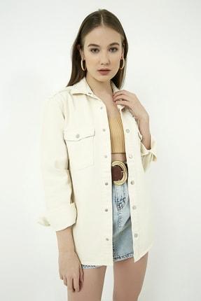 Vis a Vis Kadın Bej Yırtıklı Kot Ceket Gömlek  STN443KGO160 4