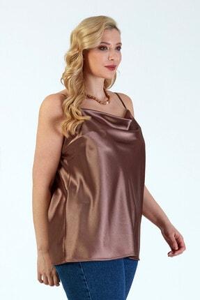 Büyük Moda Kadın Vizon İp Askılı Degaje Yaka Askılı Bluz 4