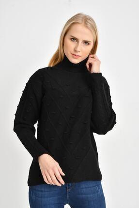 Tena Moda Kadın Siyah Balıkçı Ponponlu Kazak 0