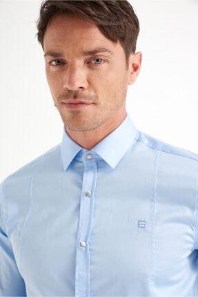 Avva Erkek Mavi Düz Klasik Yaka Slim Fit Gömlek B002217 0