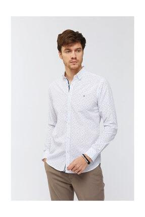 Avva Erkek Beyaz Baskılı Düğmeli Yaka Slim Fit Gömlek A91s2036 1