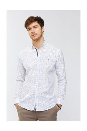 Avva Erkek Beyaz Baskılı Düğmeli Yaka Slim Fit Gömlek A91s2036 2