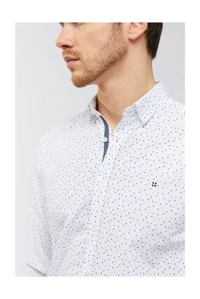 Avva Erkek Beyaz Baskılı Düğmeli Yaka Slim Fit Gömlek A91s2036 3