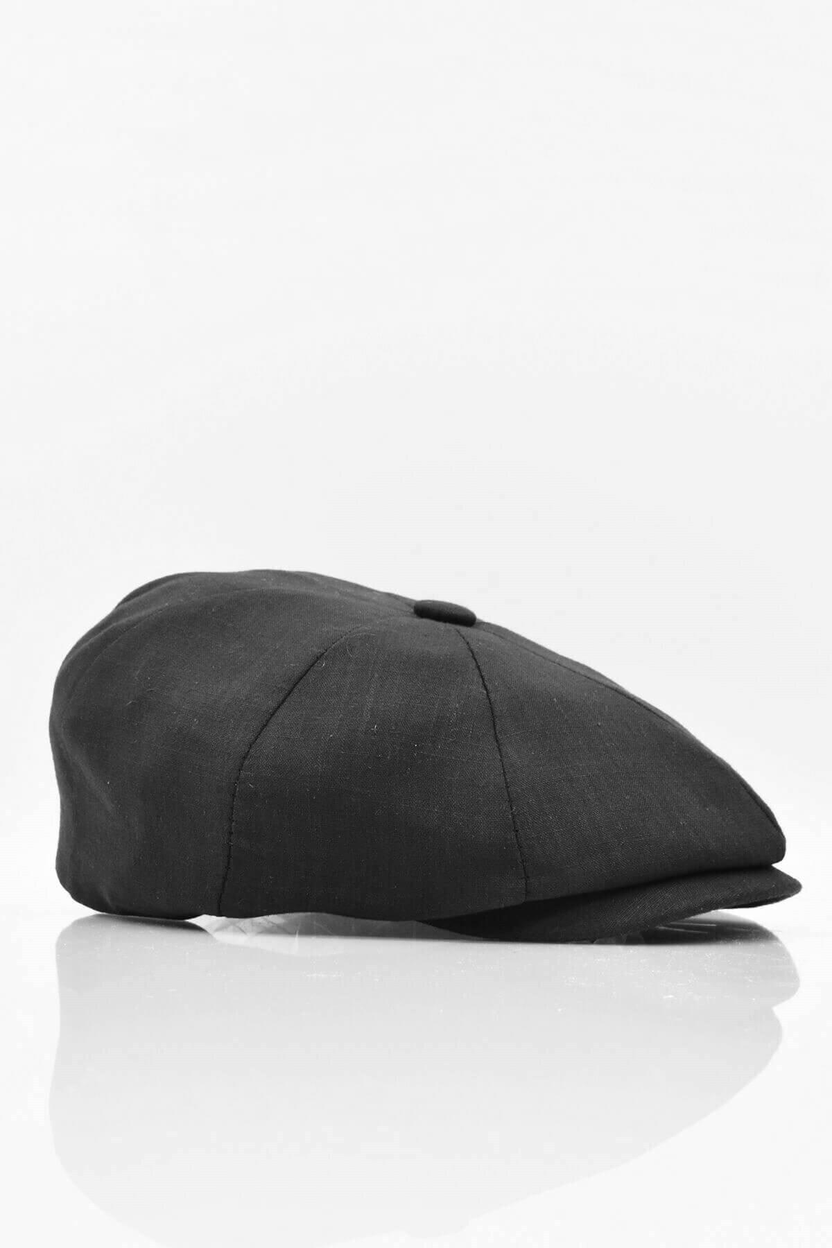 Külah Erkek %100 Pamuk Şapka Yazlık Ingiliz Stili London Kasket Siyah