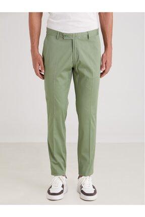 Dufy Yeşil Düz Ribana Örgü Erkek Pantolon - Slım Fıt 0