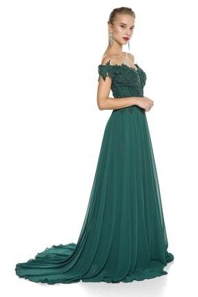 Abiye Sarayı Yeşil Güpür Işlemeli Düşük Omuzlu Şifon Abiye Elbise 1