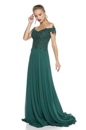 Abiye Sarayı Yeşil Güpür Işlemeli Düşük Omuzlu Şifon Abiye Elbise 2